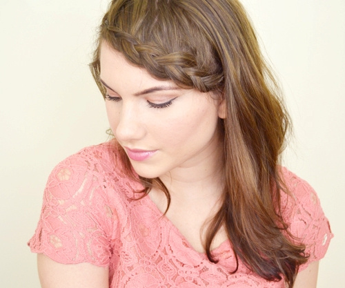 pretty mid-length downdo with braided bangs