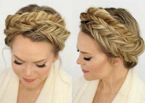 updo with fishtail headband braid