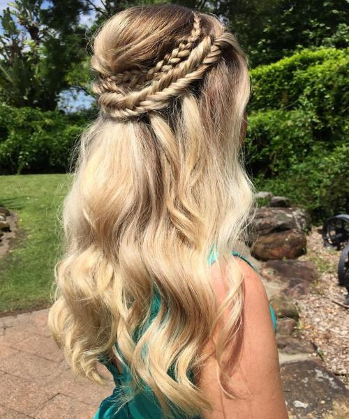 Half Up Double Crown Braid