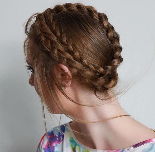 crown braid updo for thin hair