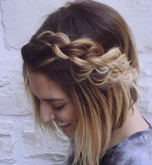 Ombre Bob With A Messy Braid