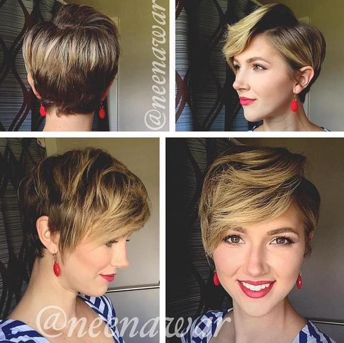 pixie with long bangs and balayage highlights