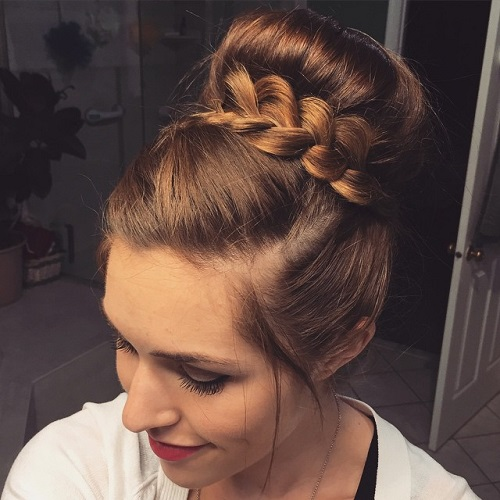 Bun With A Braid Around