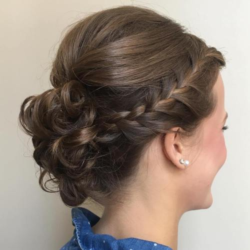 Headband Braid And Bun Updo
