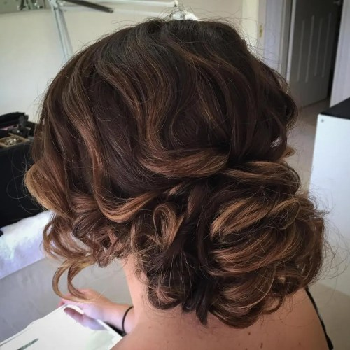 Large Low Curly Bun Updo