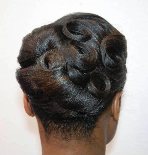 Black Vintage Pin Curls Updo