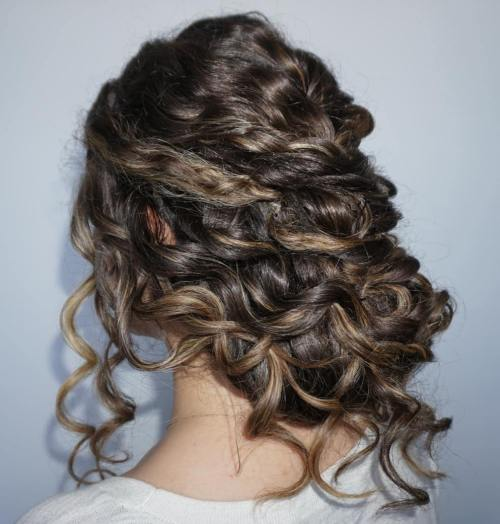 Low Curly Updo For Long Hair