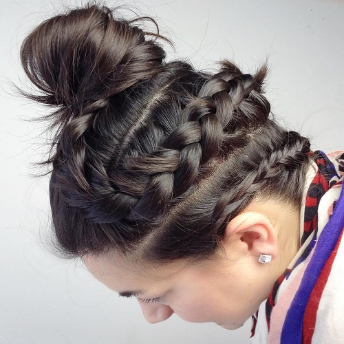 Two Braids And Top Knot Updo