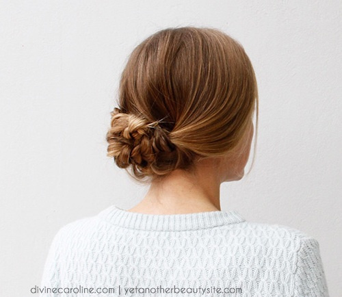 quick low braided updo