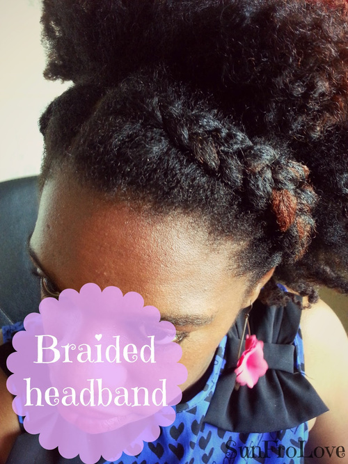 black braided updo with a headband braid