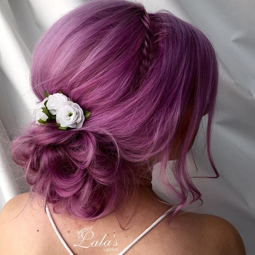 Messy bun guide 40 newest messy buns for 2017 curly bun pastel purple updo pmusecretfo Gallery