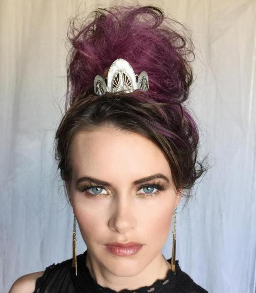High Messy Bun With A Crown Accessory