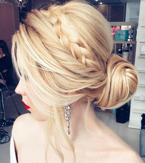 Low Bun With A Crown Braid