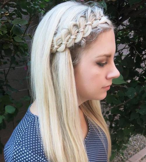 Medium Hairstyle With A Ribbon Braid