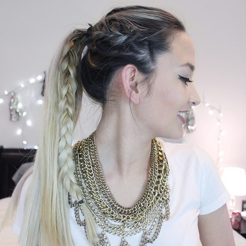 Superior Ponytail With A Side Braid For Long Hair