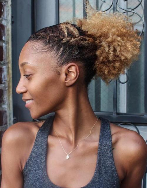African American Short Curly Ponytail