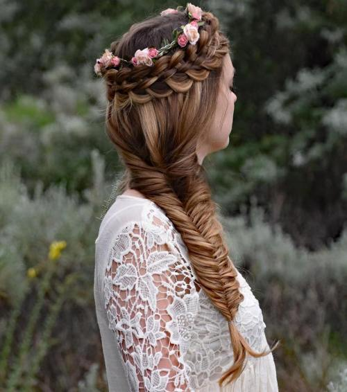 Braid And Flower Crown With Side Fishtail