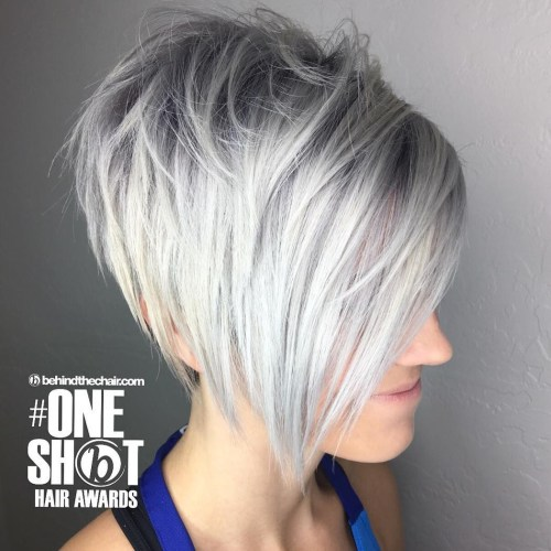 Feminine Blonde Layered Pixie