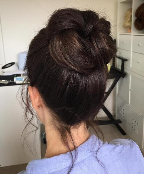 High Twisted Bun For Thick Hair