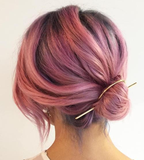 Low Bun For Pastel Pink Hair