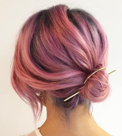 Low Bun For Pastel Pink Hair