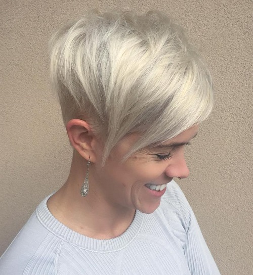 Silver Blonde Pixie With Long Side Bangs