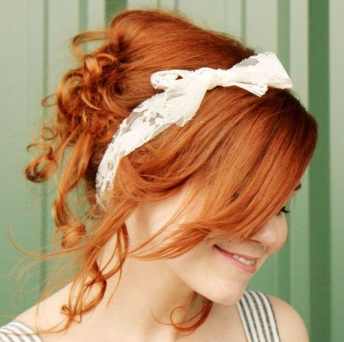 loose curly updo with a headband