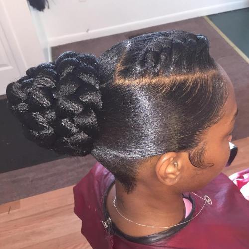 Black Sleek Braided Bun Updo