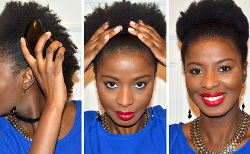afro puff updo hairstyle for black women