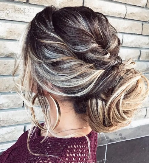 Low Messy Bun With Twists
