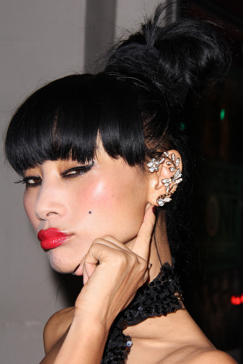 bun hairstyle for long hair with bangs
