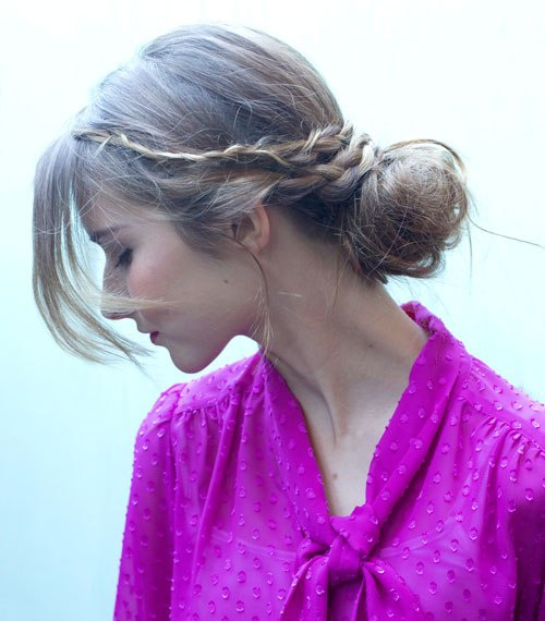 casual braid and bun updo for long hair