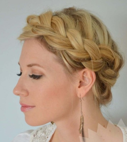 boho inspired crown braid hairstyle