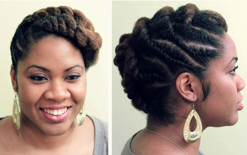 Popular Black Hair Twist Updo Hairstyles Natural Hair Flat Twist Updo