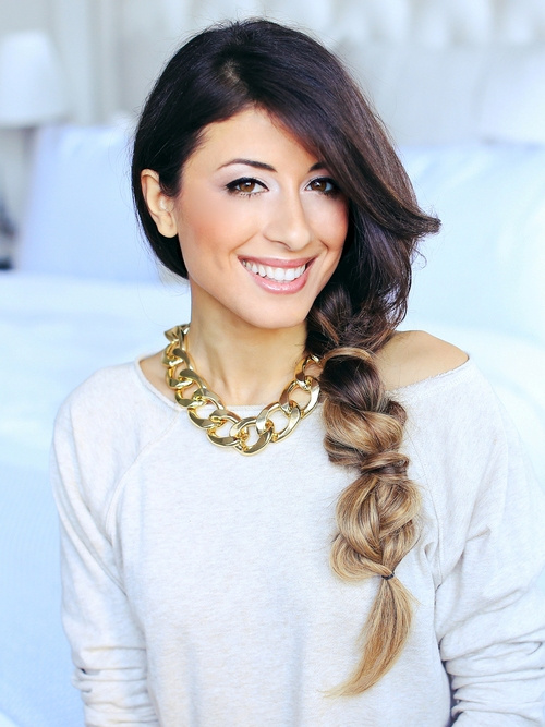 side bubble braid for long hair