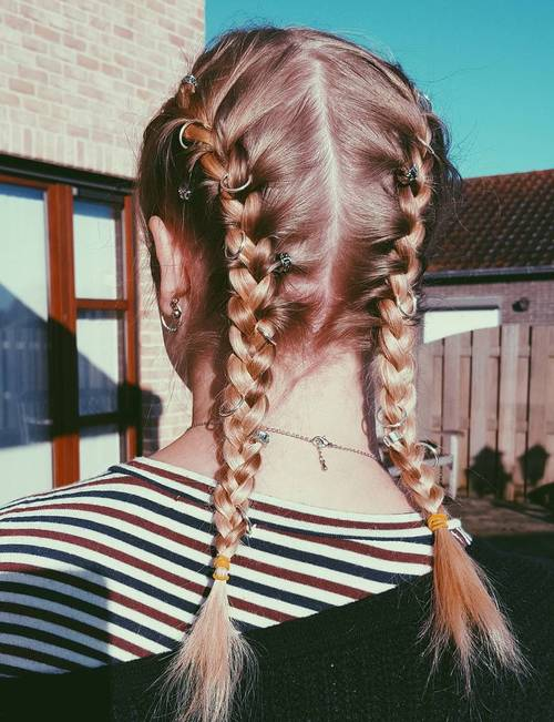 medium length pigtails for fine hair