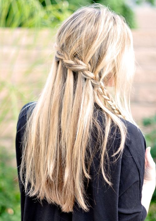 simple waterfall braid downdo for long hair