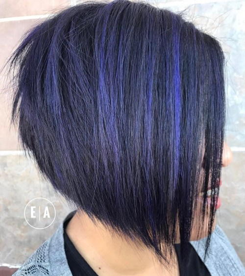 Angled Layered Bob With Purple Highlights
