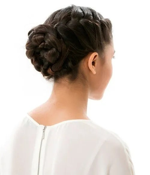 Formal French braided bun updo