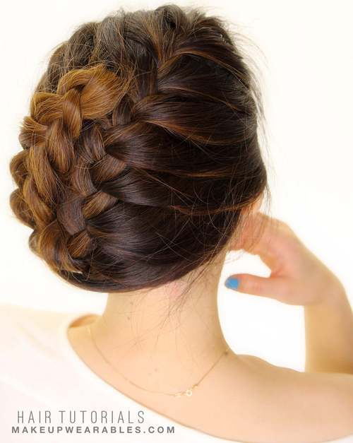 Easy French braided updo for medium hair