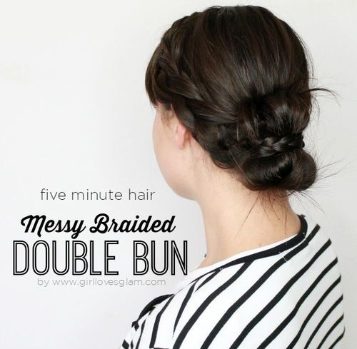 double bun with two braids