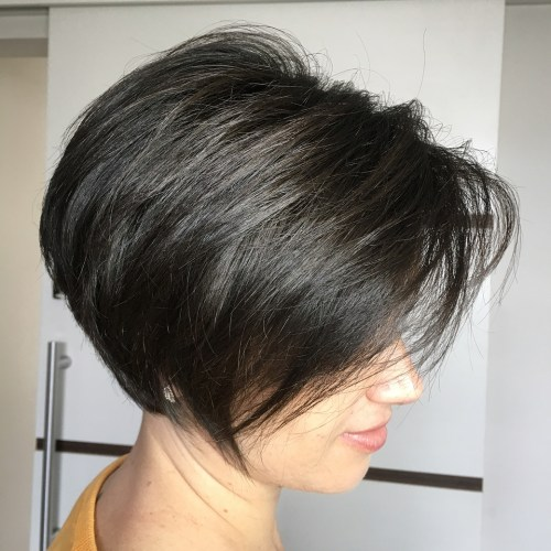 Black Pixie Bob With Angled Layers