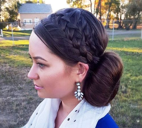 headband braids and side bun updo