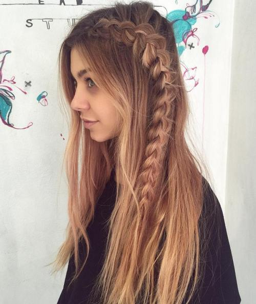 Long Messy Hairstyle With Side Dutch Braid