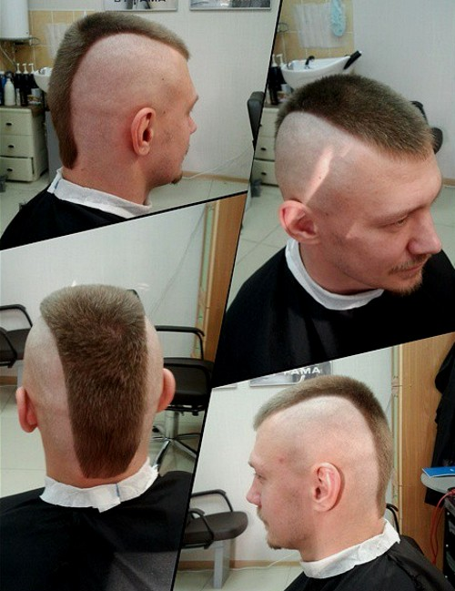 short side-shaven Mohawk for men