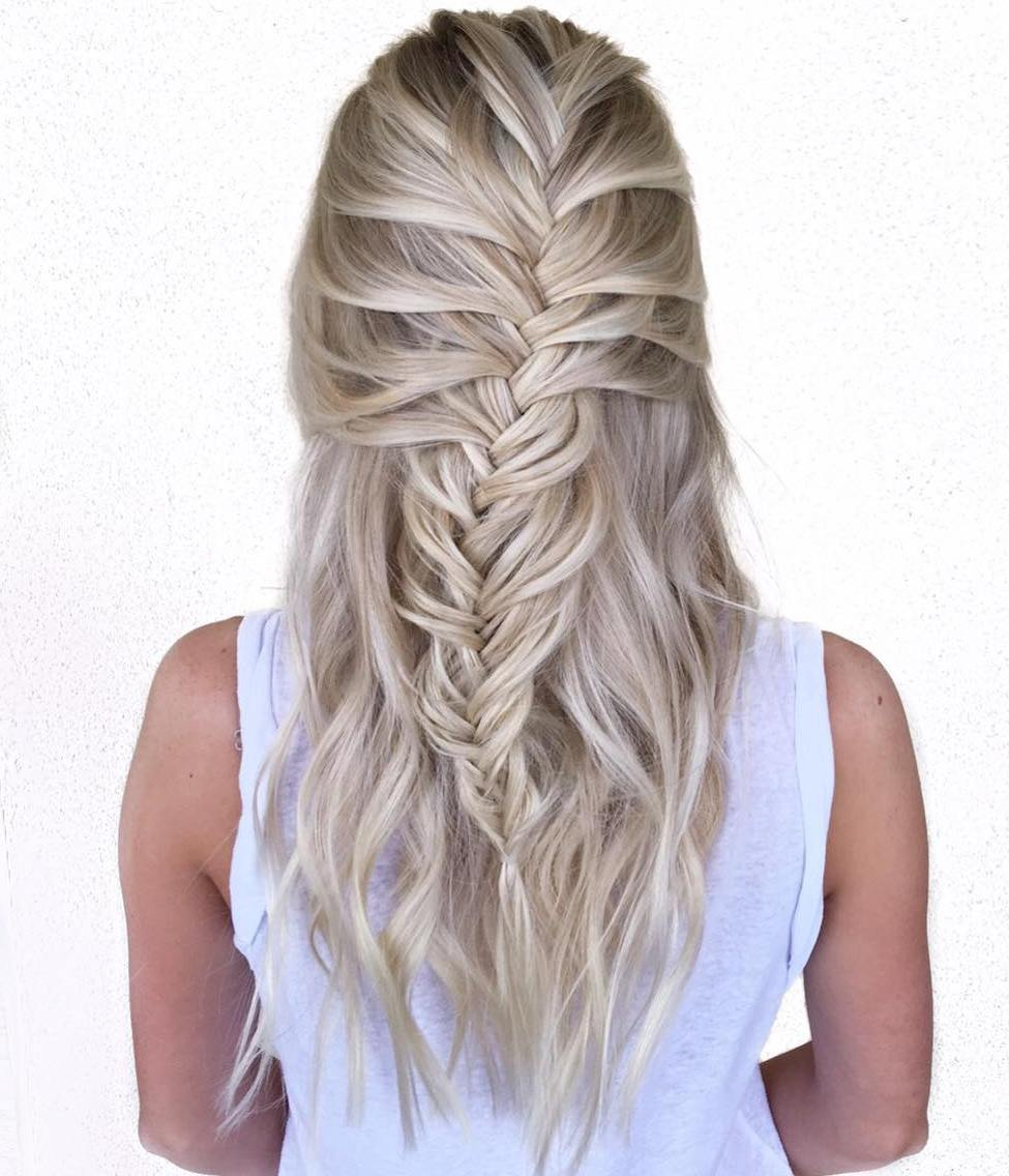 Blonde Half Updo With A Braid
