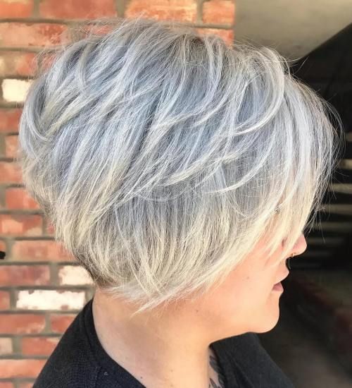 Short Layered Gray Hairstyle