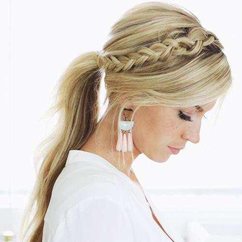 headband braid and ponytail hairstyle