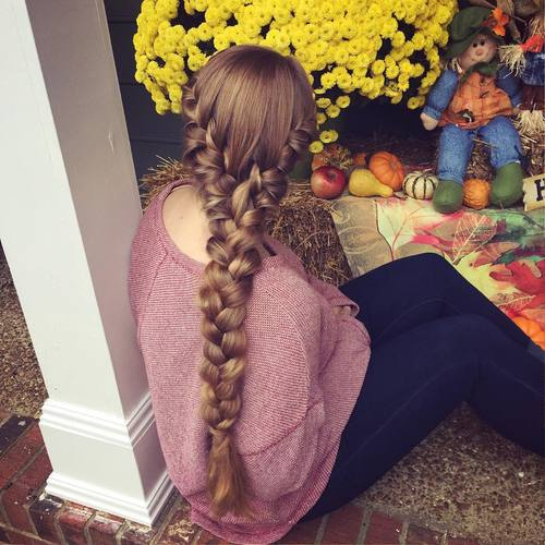 long chunky braid hairstyle for thick hair