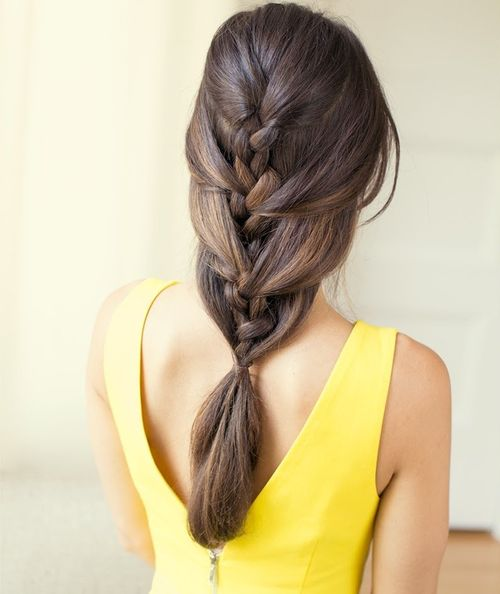 Easy loose French braid hairstyle